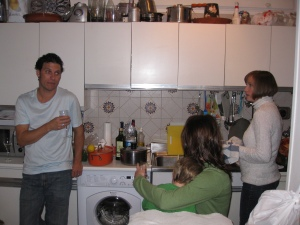 Eric, Melissa and Amy in the kitchen